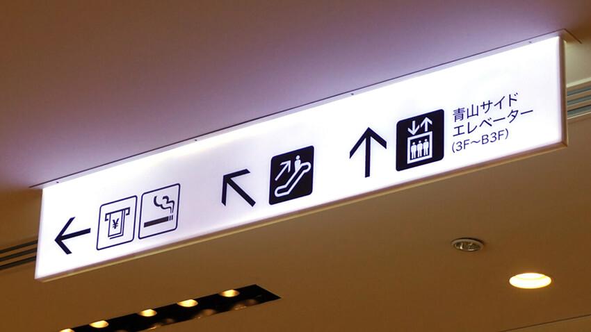 表参道ヒルズで使用されている、キャッシュコーナー、禁煙スペース、上りのエスカレーター、エレベーターのピクトグラムのサインの写真。