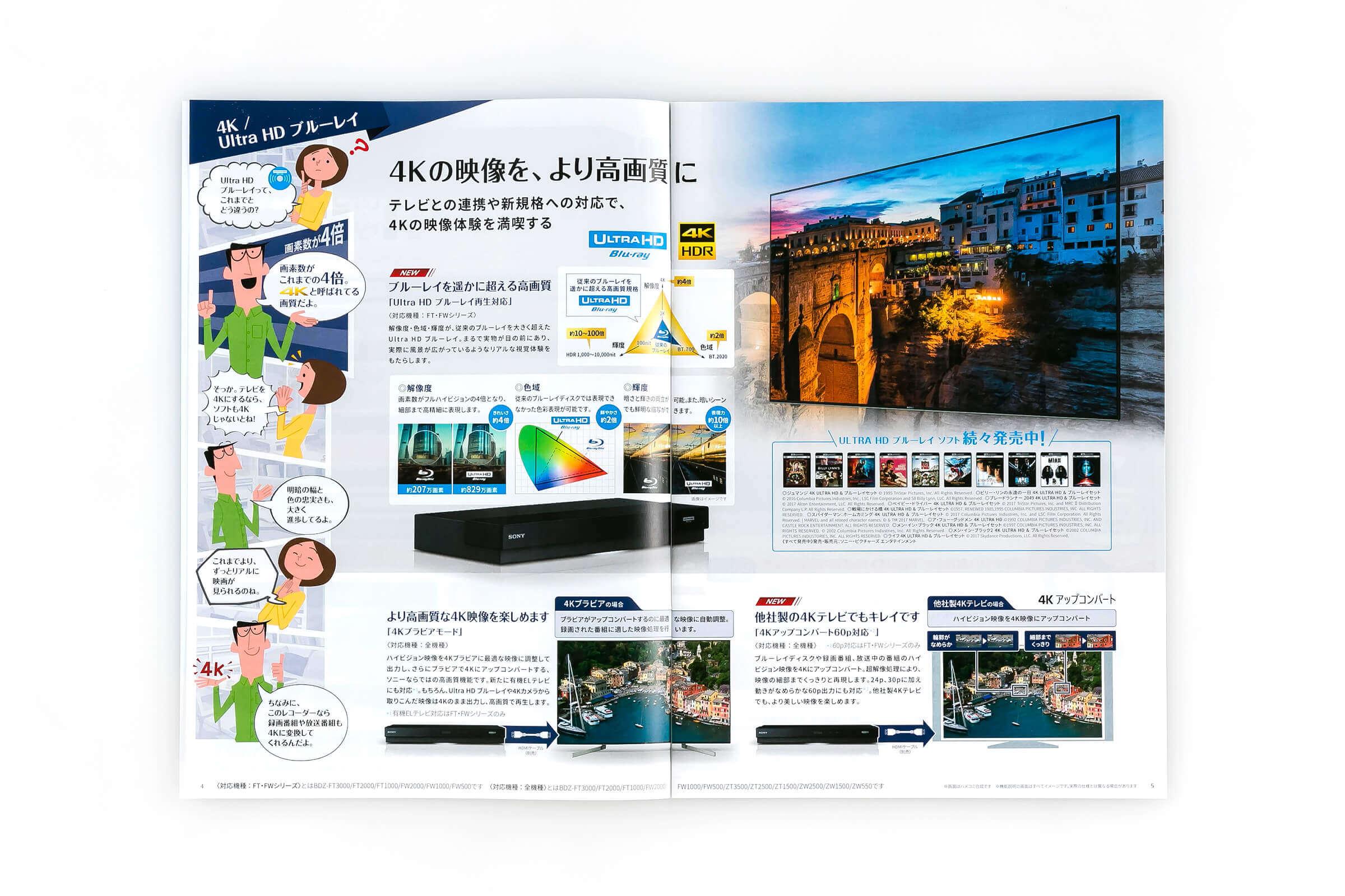 ブルーレイディスク/DVDレコーダー総合パンフレット2018年春号 4-5Ultra HD ブルーレイ紹介ページ